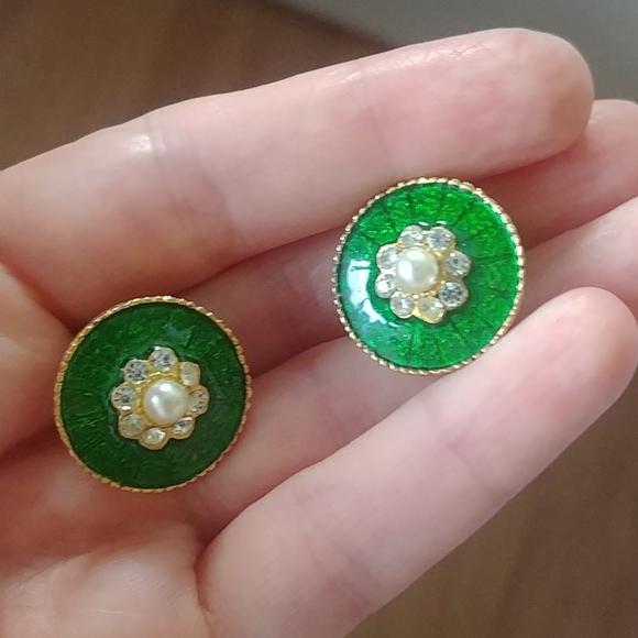 4/$15 - vintage green clip on earrings